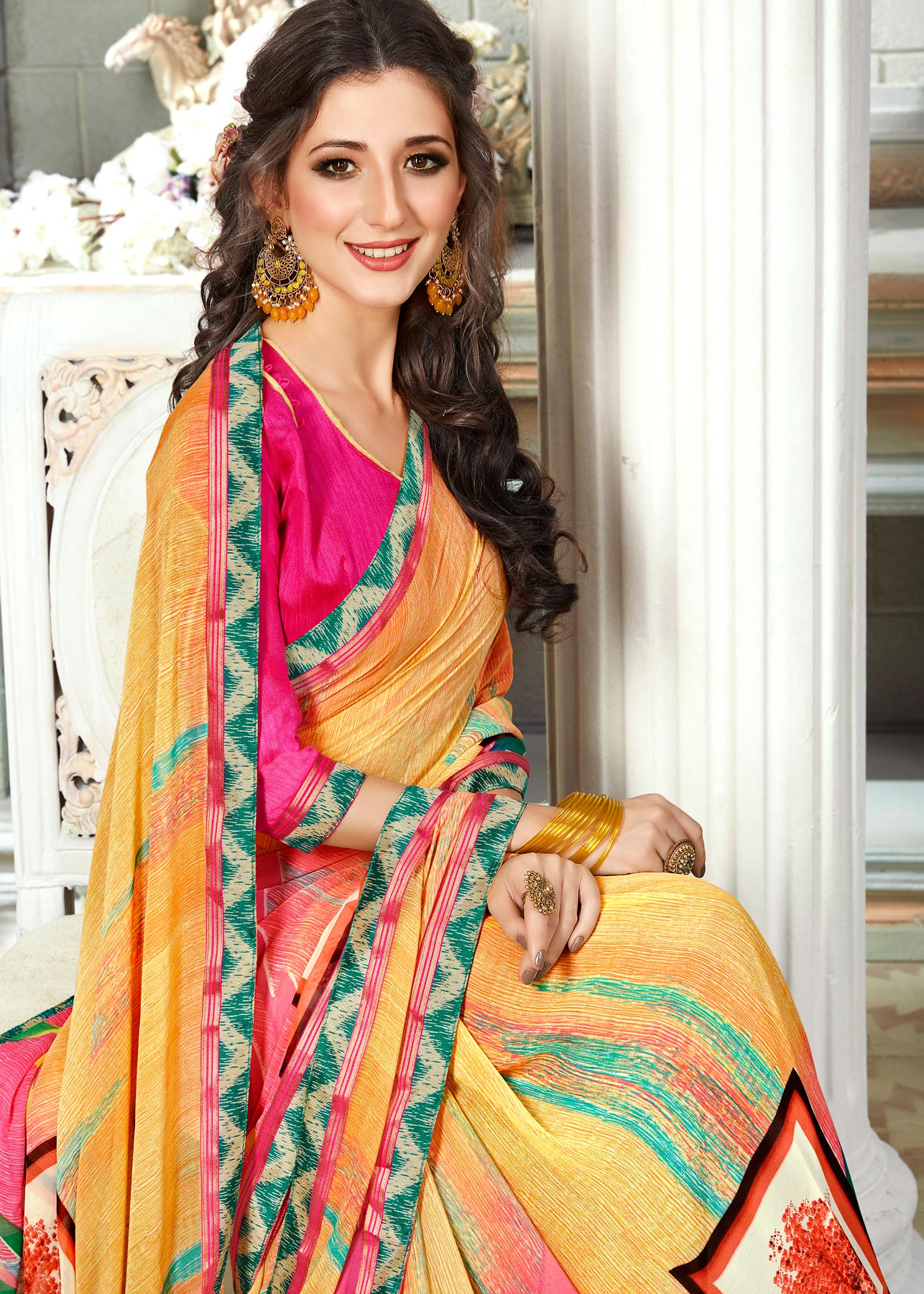 Flawless Yellow Colored Casual Printed Georgette Saree