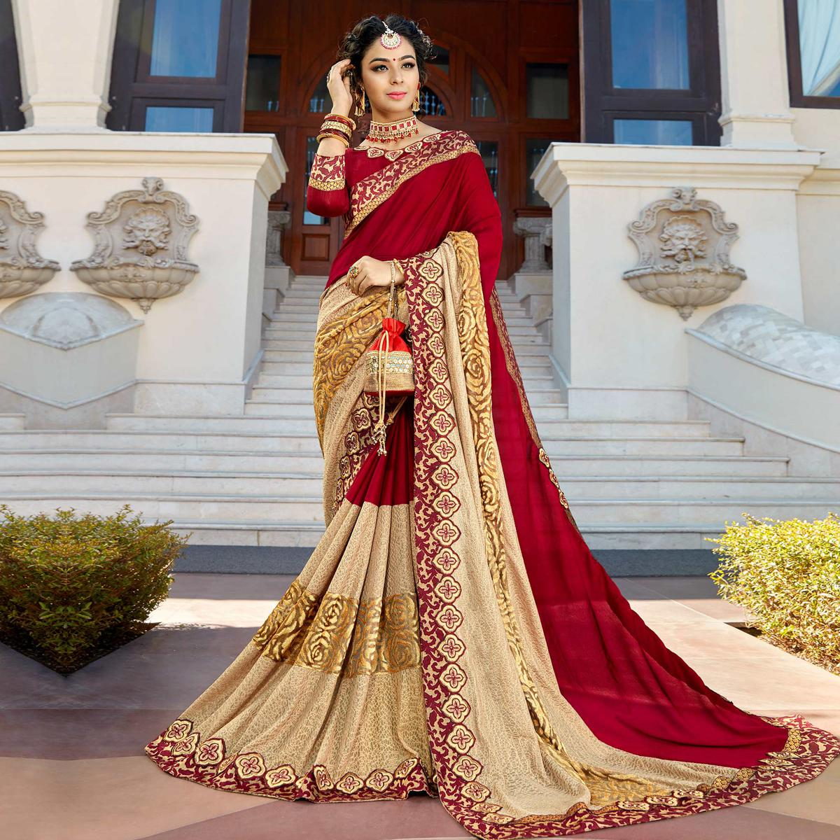 Red - Beige Partywear Woven Imported Fabric Saree