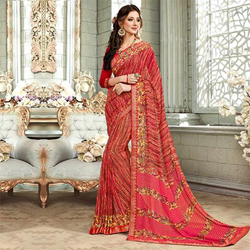Fetching Multicolored Casual Printed Georgette Saree