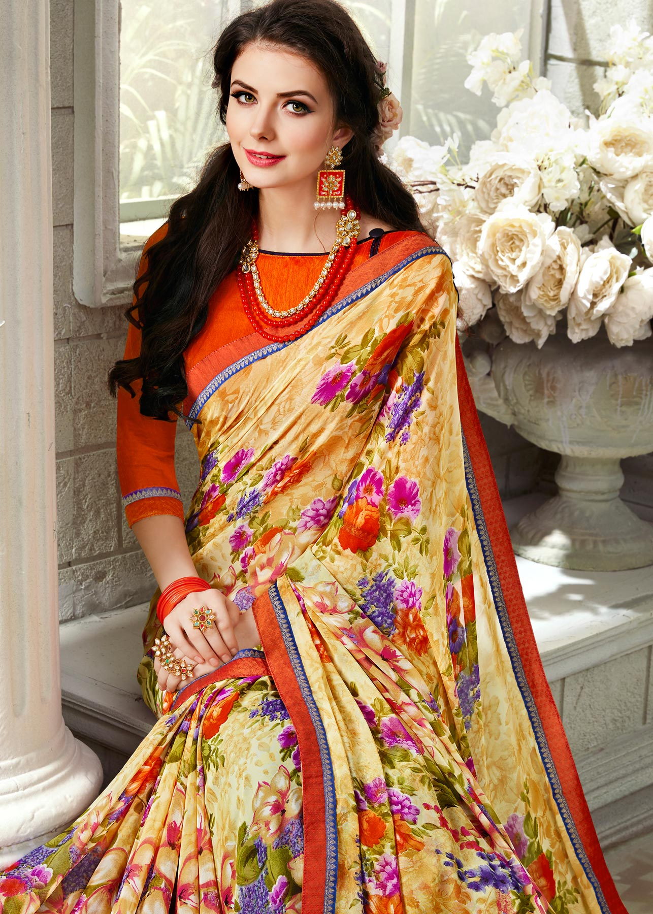 Girlish Yellow Colored Casual Printed Georgette Saree