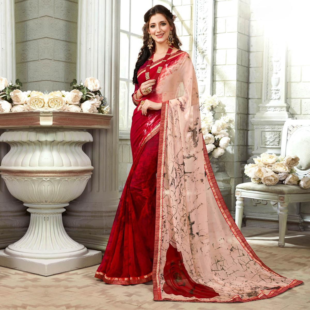 Sophisticated Maroon Colored Casual Printed Georgette Saree
