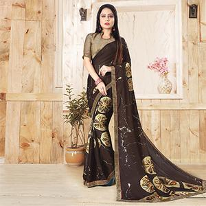 Brown Colored Casual Printed Art Silk Saree