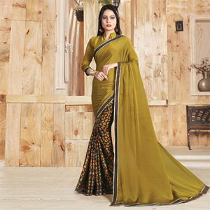 Yellow-Multi Colored Casual Printed Art Silk Half-Half Saree