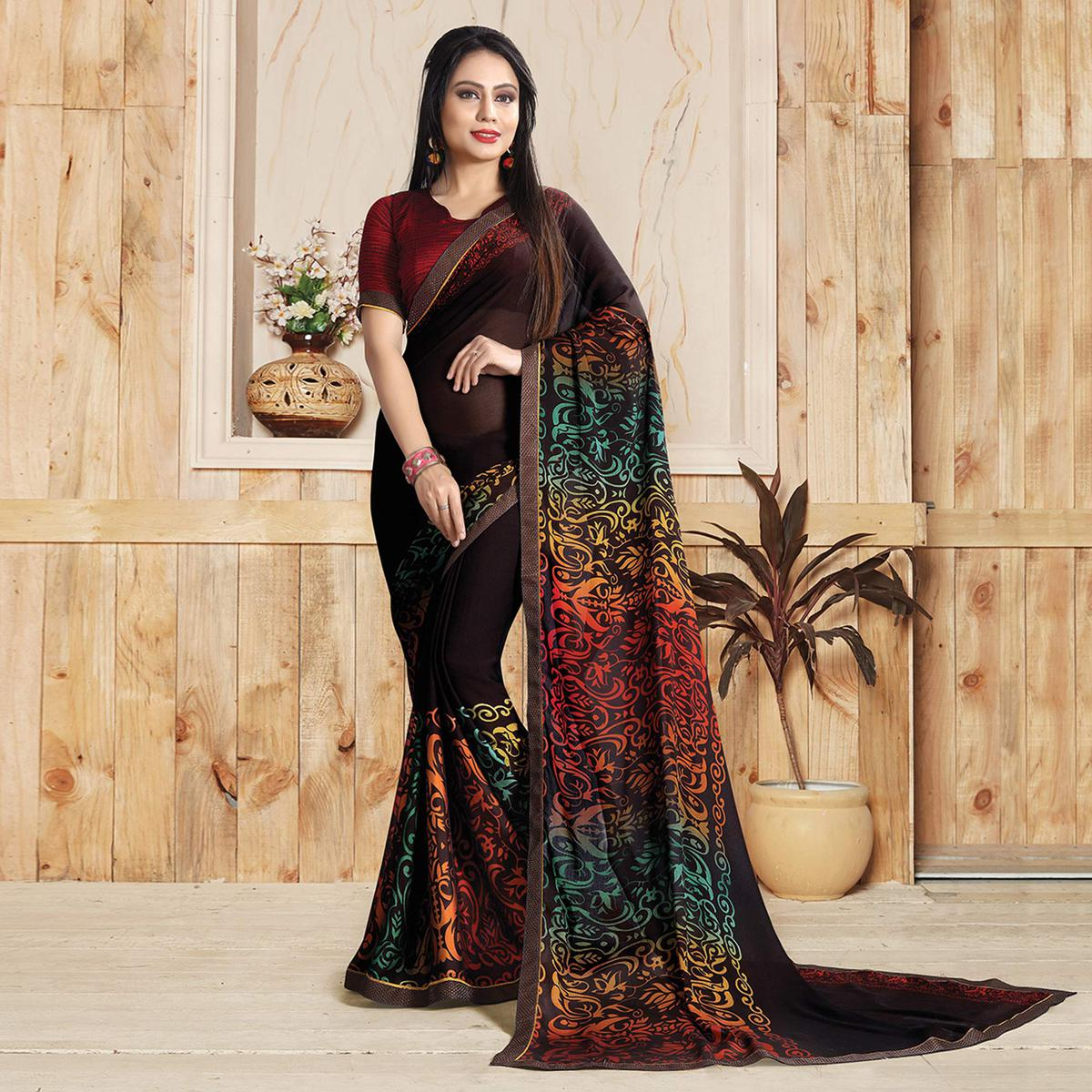 Coffee Brown Colored Casual Printed Art Silk Saree