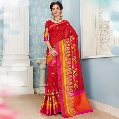 Beautiful Red Colored Embroidered Festive Wear Cotton Silk Saree