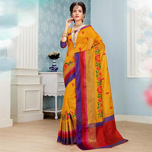 Traditional Yellow Colored Embroidered Festive Wear Cotton Silk Saree