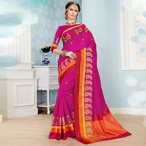 Mesmerising Rani Pink Colored Embroidered Festive Wear Cotton Silk Saree