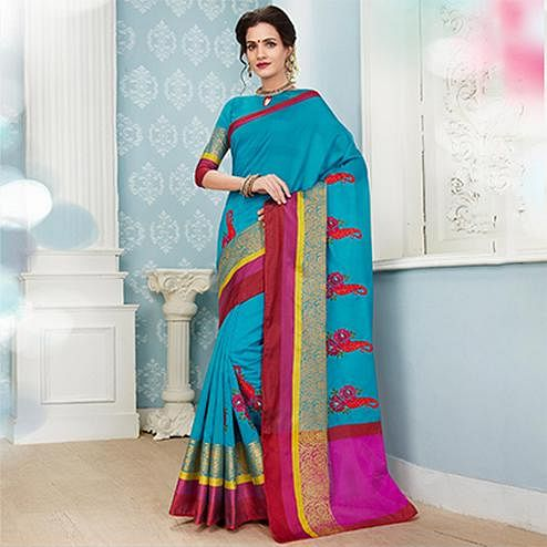 Attractive Sky Blue Colored Embroidered Festive Wear Cotton Silk Saree