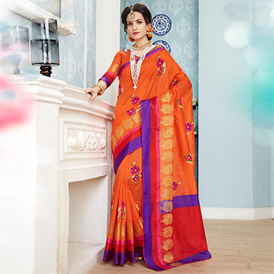 Deserving Orange Colored Embroidered Festive Wear Cotton Silk Saree