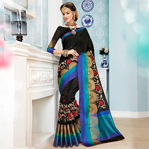 Majestic Black Colored Embroidered Festive Wear Cotton Silk Saree