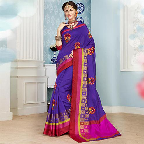 Pretty Purple Colored Embroidered Festive Wear Cotton Silk Saree
