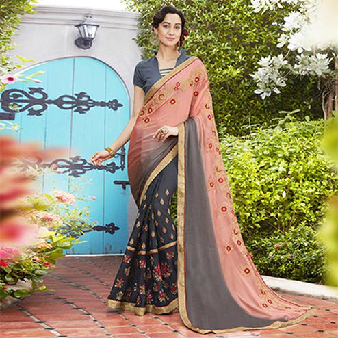 Marvellous Peach-Gray Colored Partywear Embroidered Moss Georgette Saree