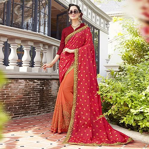 Surpassing Pink-Orange Colored Partywear Embroidered Silk-Georgette Half-Half Saree