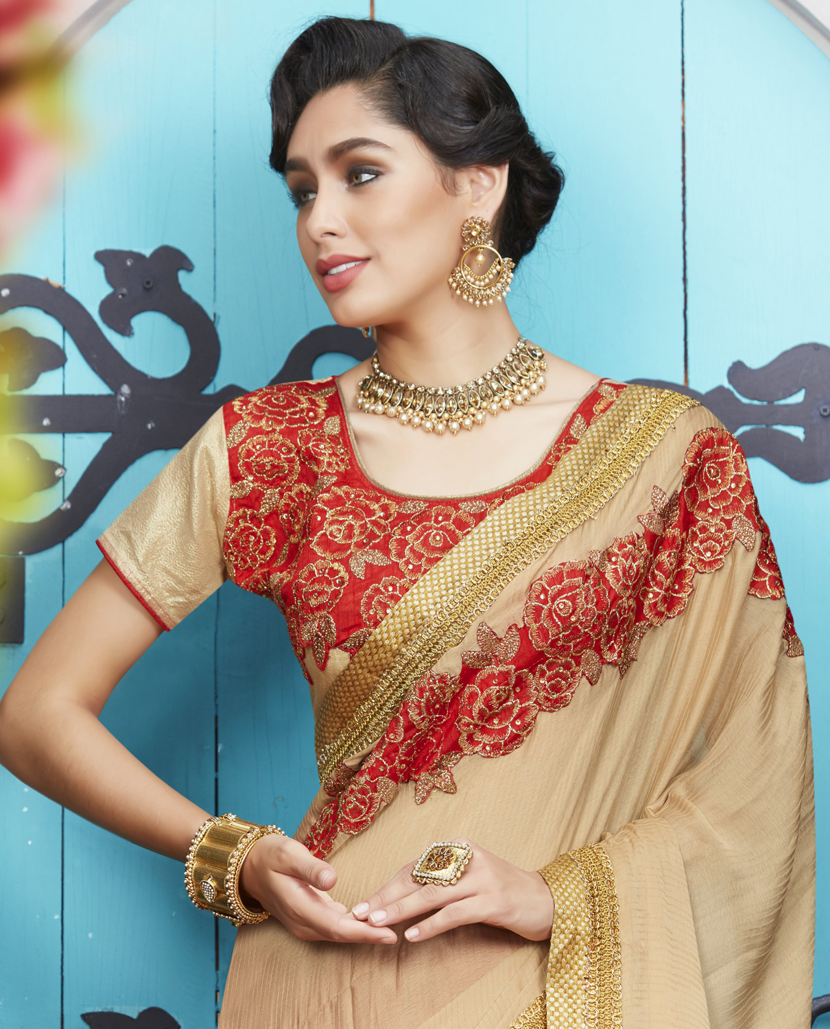 Eye-Catching Beige-Red Colored Partywear Embroidered Jacquard-Georgette Half-Half Saree