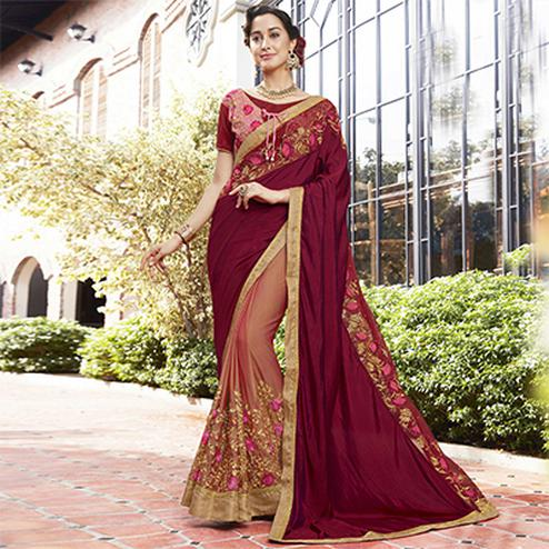 Dazzling Maroon-Peach Colored Partywear Embroidered Art Silk-Georgette Half-Half Saree