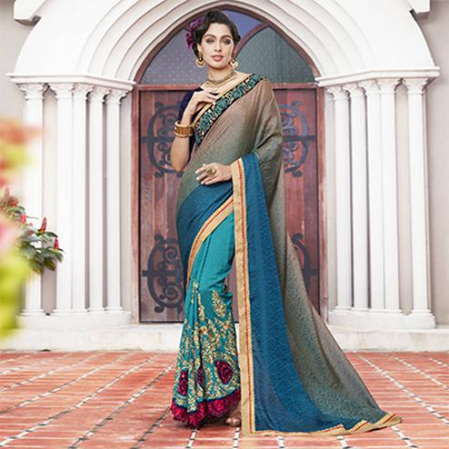 Elegant Sky Blue Colored Partywear Embroidered Jacquard-Art Silk Half-Half Saree