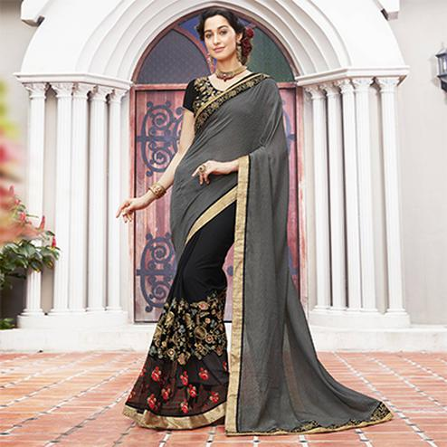 Beautiful Gray-Black Colored Partywear Embroidered Jacquard-Georgette Half-Half Saree