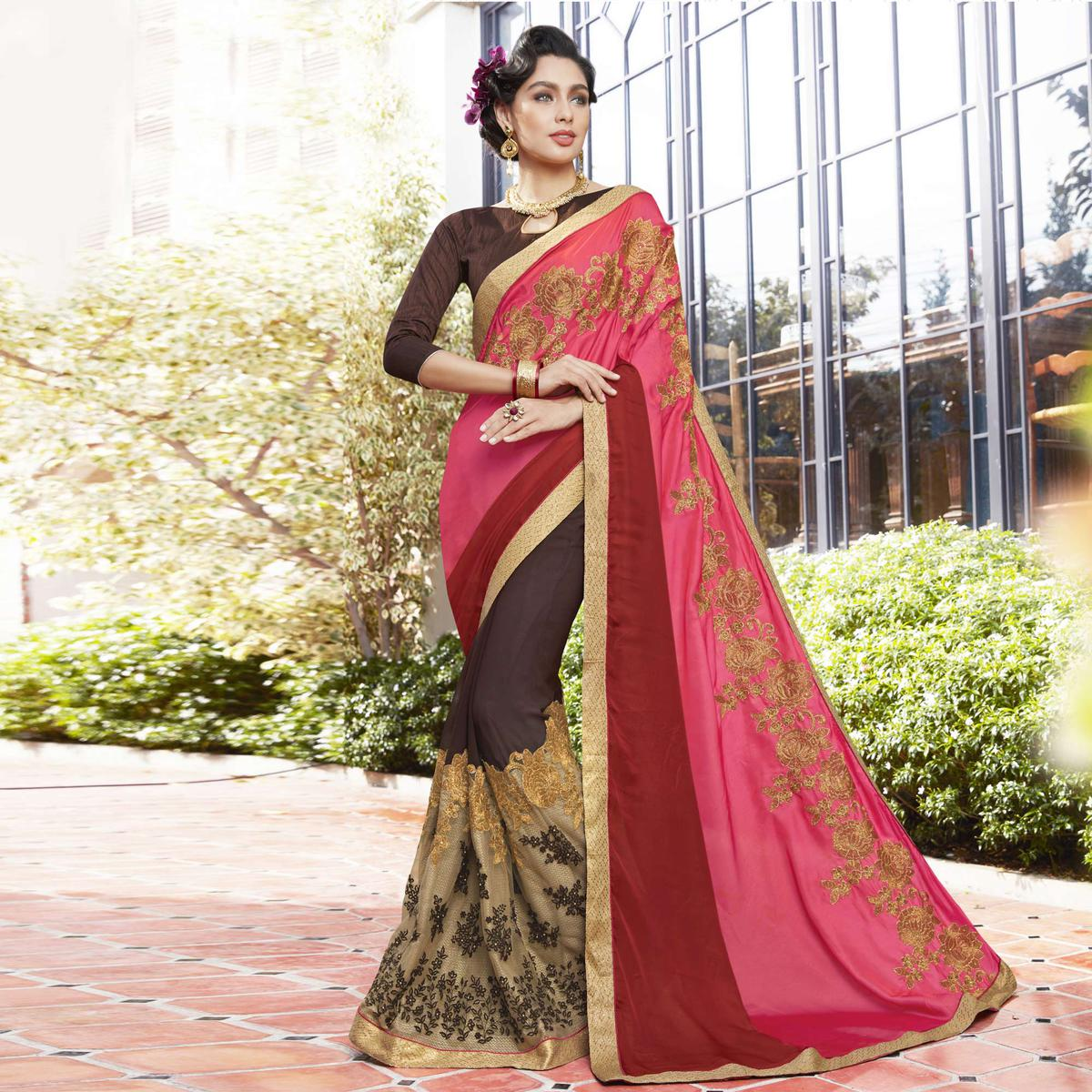 Attractive Pink-Brown Colored Partywear Embroidered Moss Georgette Half-Half Saree