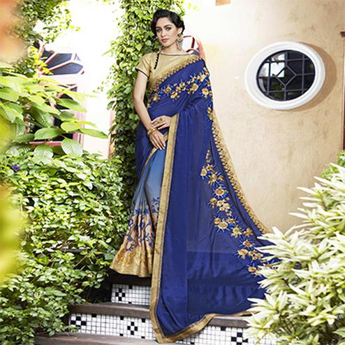 Refreshing Blue Colored Partywear Embroidered Moss Georgette Saree