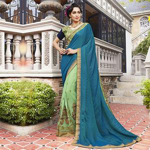 Unique Teal Blue-Mint Green Colored Partywear Embroidered Jacquard-Georgette Half-Half Saree