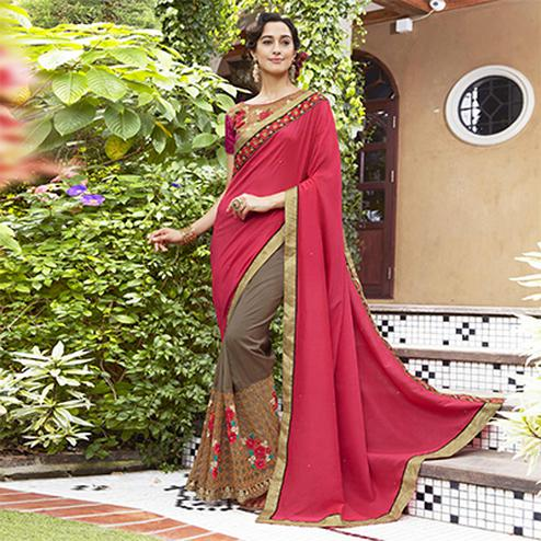 Opulent Pink-Brown Colored Partywear Embroidered Moss Georgette Half-Half Saree