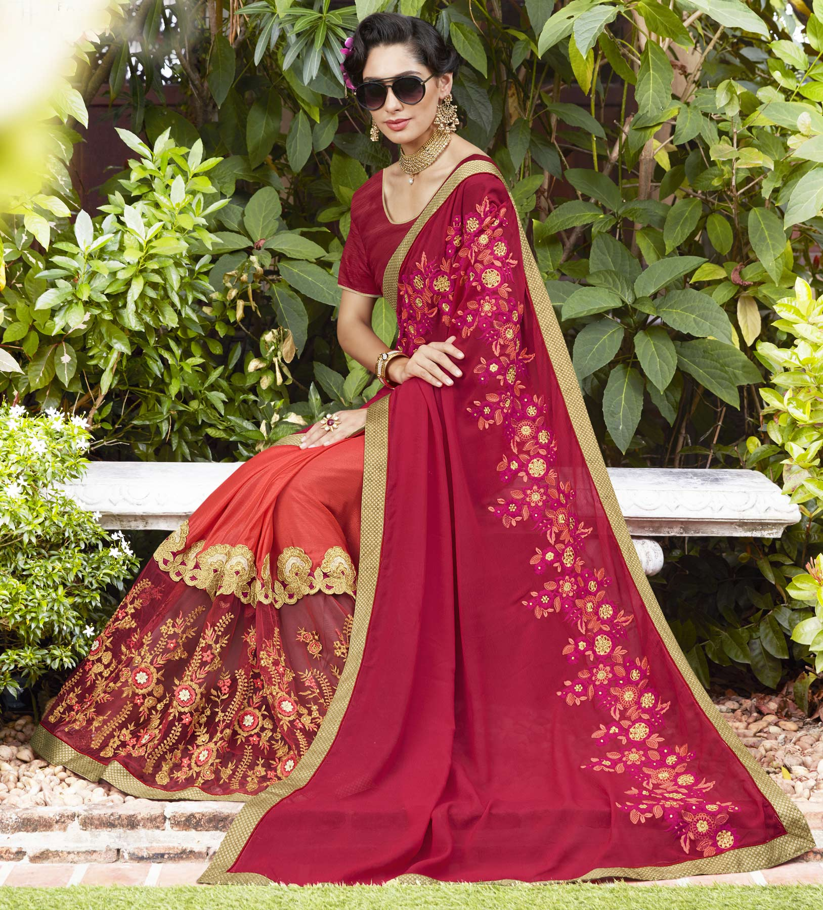 Classy Pink-Orange Colored Partywear Embroidered Moss Georgette Half-Half Saree
