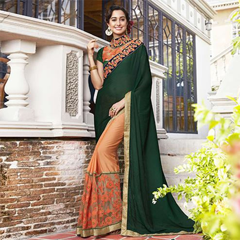 Smart Dark Green-Orange Colored Partywear Embroidered Moss Georgette Half-Half Saree