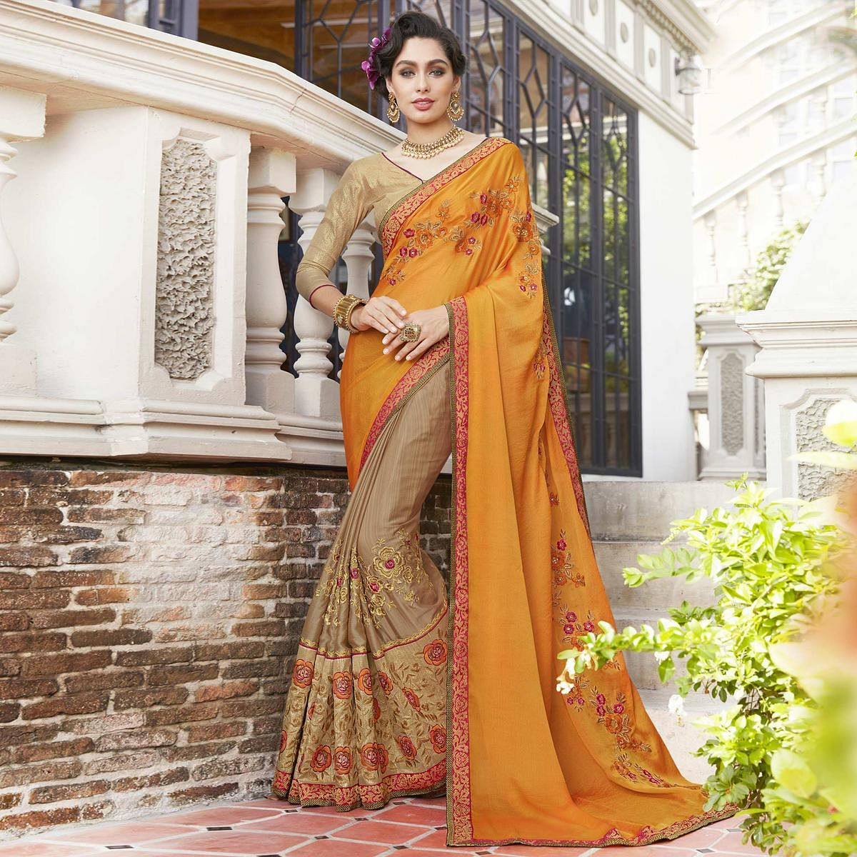 Majestic Orange-Beige Colored Partywear Embroidered Georgette-Chiffon Half-Half Saree
