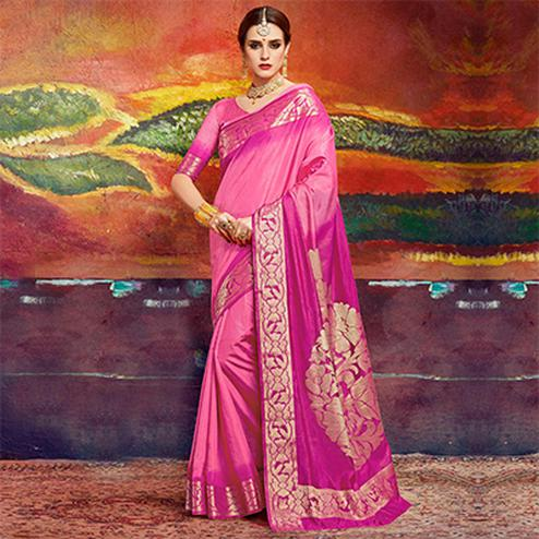 Adorning Pink Colored Designer Festive Wear Cotton Silk Saree