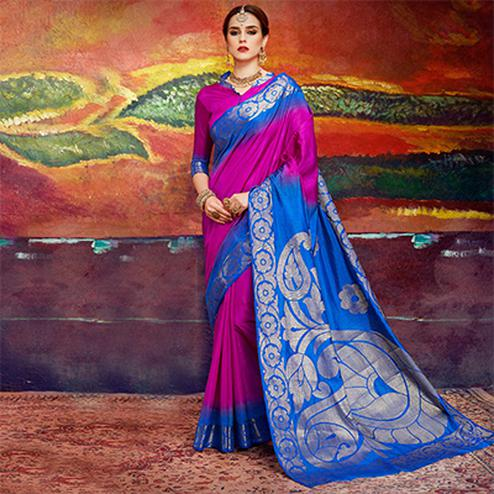 Elegant Magenta Colored Designer Festive Wear Cotton Silk Saree