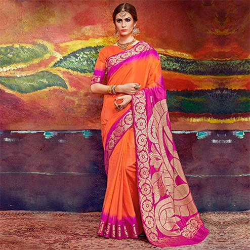 Alluring Orange Colored Designer Festive Wear Cotton Silk Saree