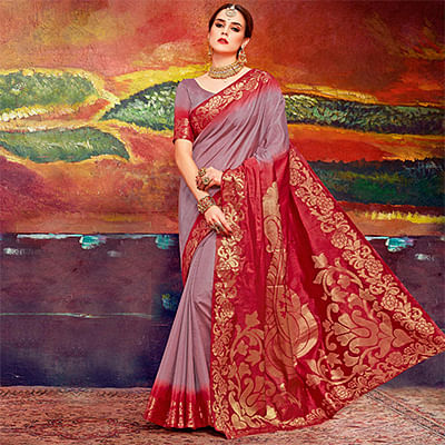 Intricate Light Wine Colored Designer Festive Wear Cotton Silk Saree