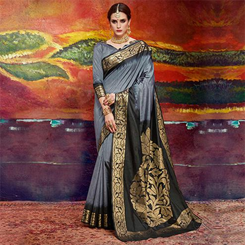 Gorgeous Grey Colored Designer Festive Wear Cotton Silk Saree