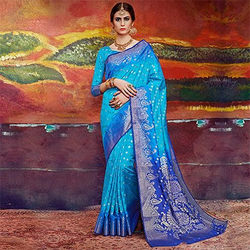 Charming Sky Blue Colored Designer Festive Wear Cotton Silk Saree