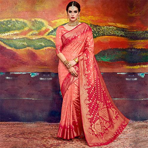 Prominent Peach Colored Designer Festive Wear Cotton Silk Saree