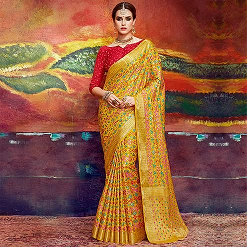 Energetic Yellow Colored Designer Festive Wear Cotton Silk Saree