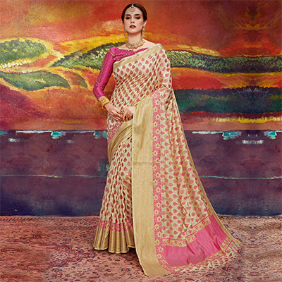 Snazzy Beige Colored Designer Festive Wear Cotton Silk Saree