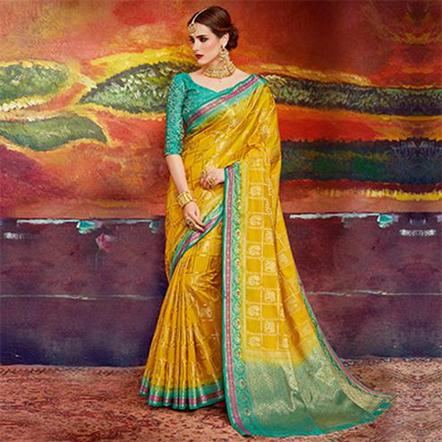 Desirable Yellow Colored Designer Festive Wear Cotton Silk Saree