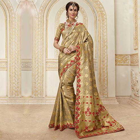 Elegant Beige Colored Embroidered Festive Wear Woven Silk Saree