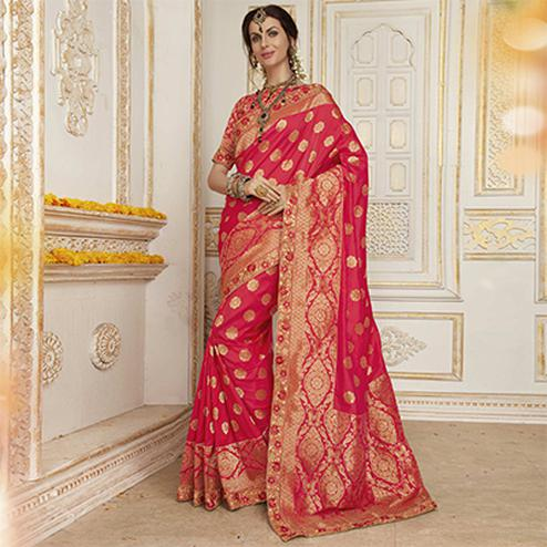 Beautiful Pink Colored Embroidered Festive Wear Woven Silk Saree