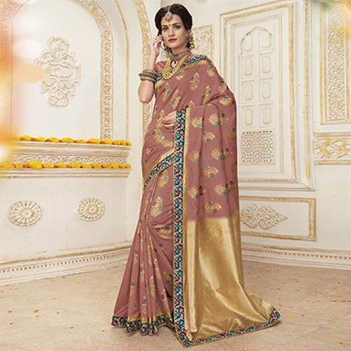 Blooming Brown Colored Embroidered Festive Wear Woven Silk Saree