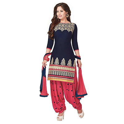 Navy Blue Printed Patiala Suit
