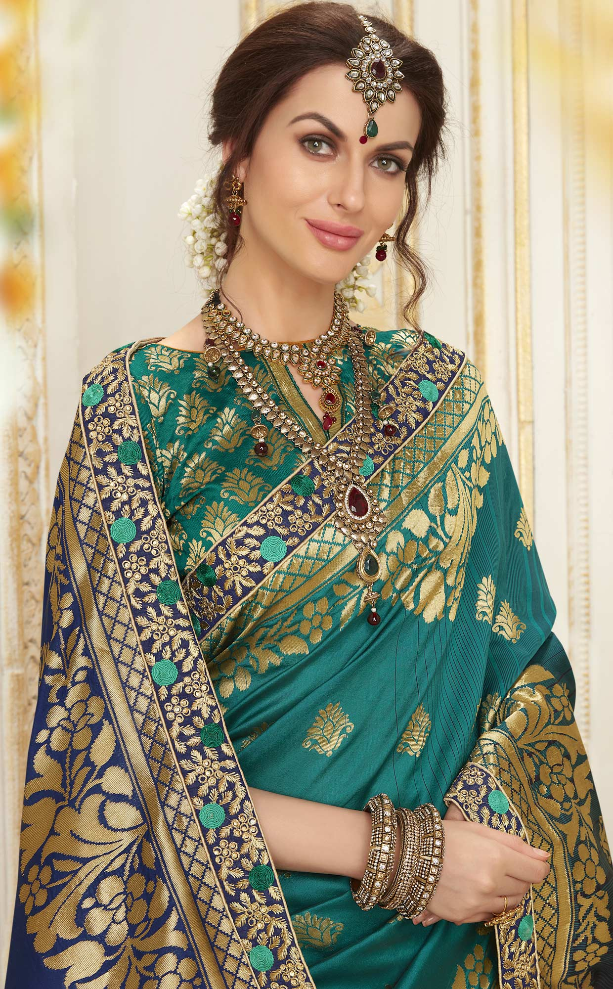 Mesmerising Turquoise Green Colored Embroidered Festive Wear Woven Silk Saree