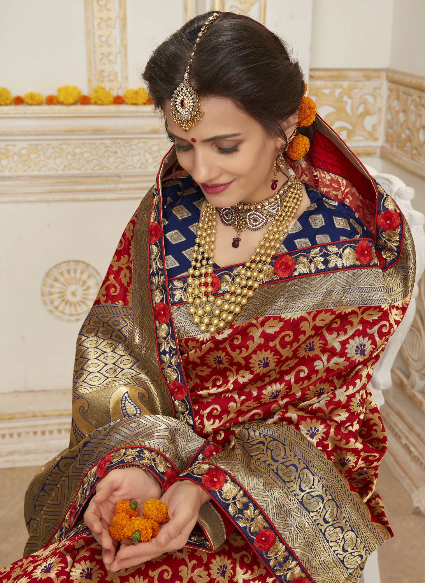Traditional Red Colored Embroidered Festive Wear Woven Silk Saree