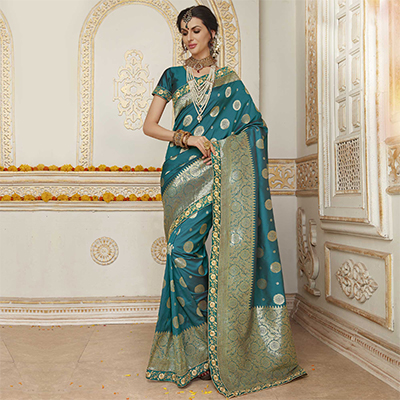 Demanding Teal Blue Colored Embroidered Festive Wear Woven Silk Saree