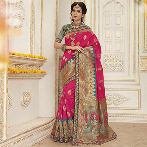 Impressive Pink Colored Embroidered Festive Wear Woven Silk Saree