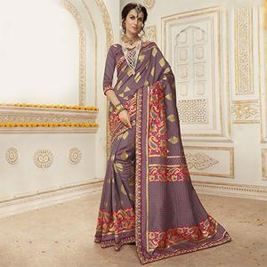 Groovy Gray Colored Embroidered Festive Wear Woven Silk Saree