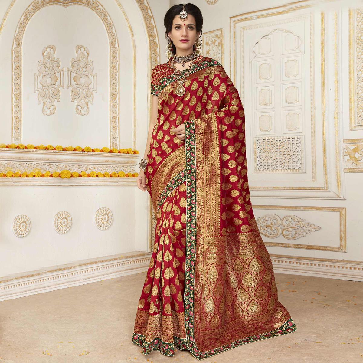 Refreshing Maroon Colored Embroidered Festive Wear Woven Silk Saree