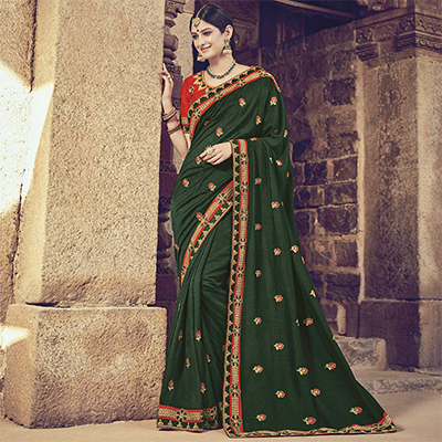 Impressive Dark Green Colored Embroidered Partywear Cotton Silk Saree