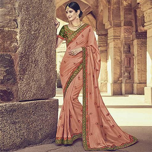 Flattering Peach Colored Embroidered Partywear Cotton Silk Saree